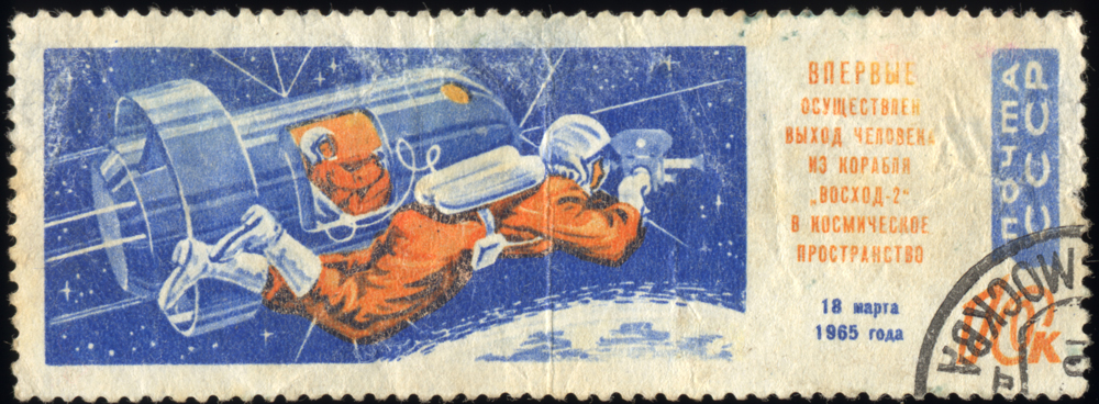 1965 Soviet Union stamp of the first space walk. Credit: Public Domain
