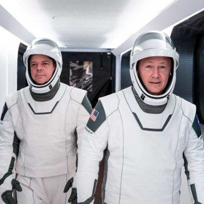 Bob and Doug in astronaut suits