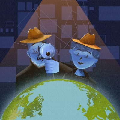2 detectives looking over earth illustration